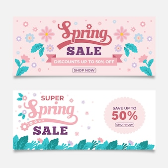 Flat design spring sale banners collection