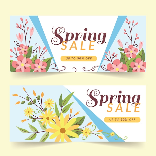 Flat design spring sale banners concept