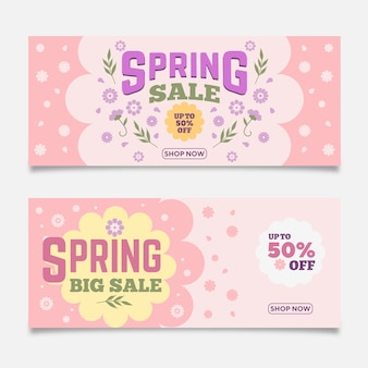 Flat design spring sale banners set