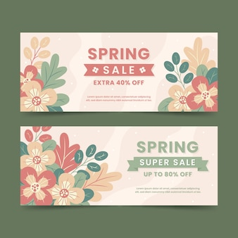 Flat design spring sale banners