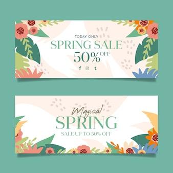 Плоский дизайн весенних распродаж баннеры