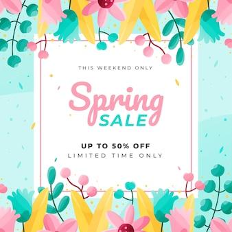 Flat design spring sale discount banner