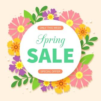 Flat design spring sale floral frame