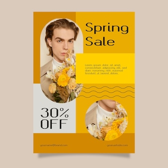 写真付きフラットデザイン春セールチラシテンプレート