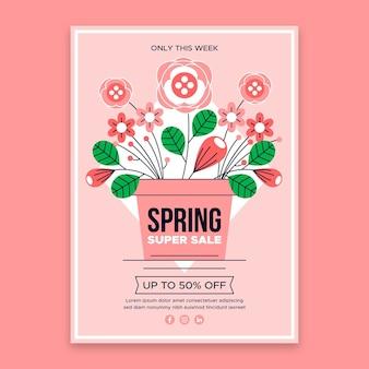 Flat design spring sale flyer template