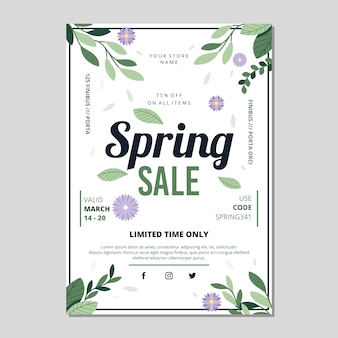 Flat design spring sale flyer with leaves