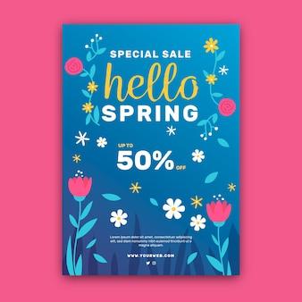Flat design spring sale flyer