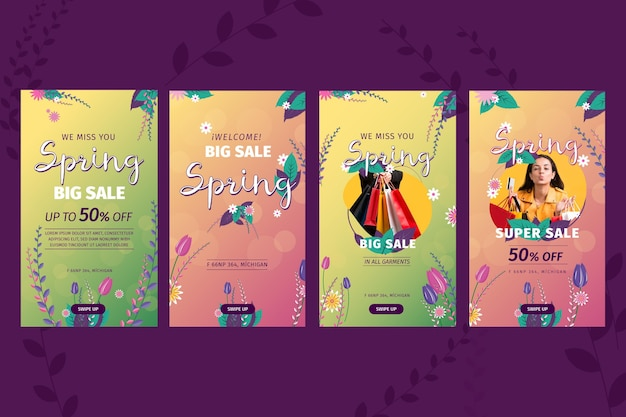 Flat design spring sale instagram stories