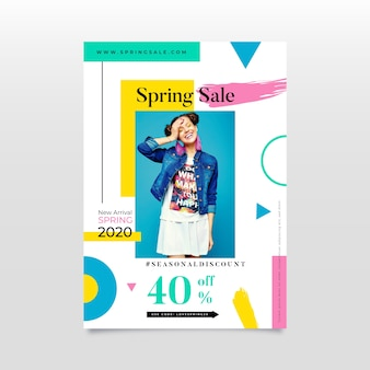 Плоский дизайн весенняя распродажа постер