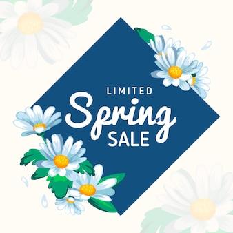 Flat design spring sale promo illustrated