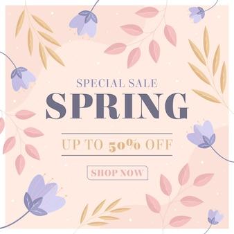 Promo di vendita di primavera design piatto illustrato