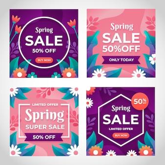 평면 디자인 봄 판매 소셜 미디어 게시물