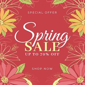 Vendita di primavera design piatto con fiori dorati e rossi