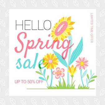 Flat design spring sale with sunflowers outdoors