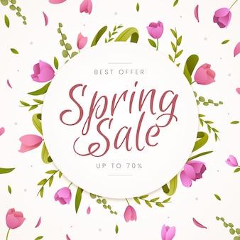 Flat design spring sale wreath of flowers