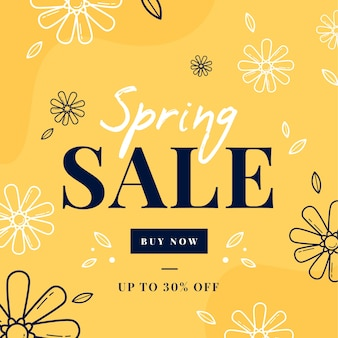 Flat design spring sales with doodle flowers