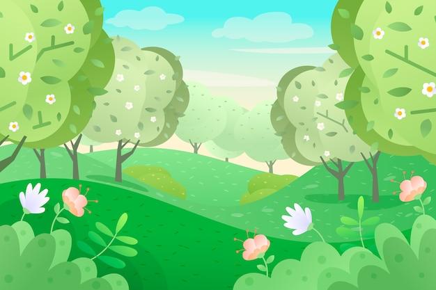 風景のフラットデザインの春のテーマ