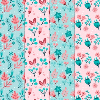 Flat design spring theme for pattern collection