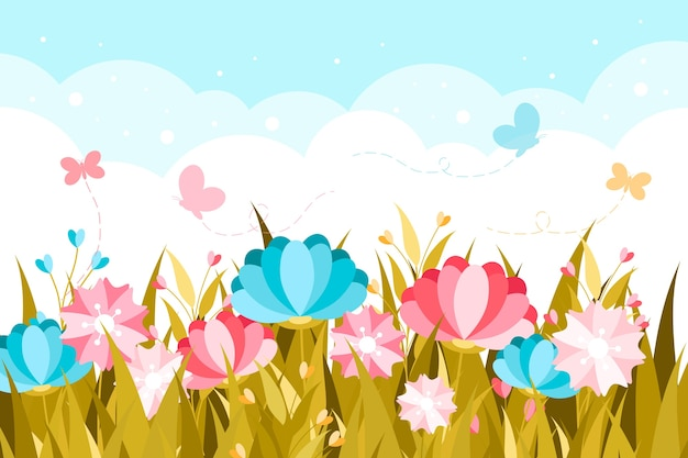 Flat design spring theme for wallpaper