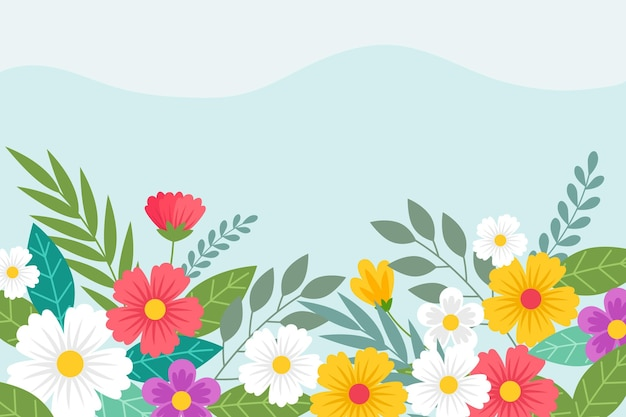 Flat design spring wallpaper with empty space