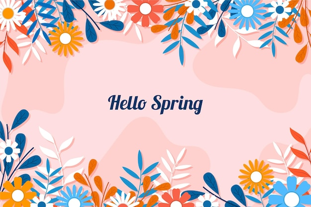 Flat design spring wallpaper with flowers