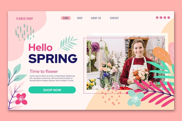 Flat design spring web template