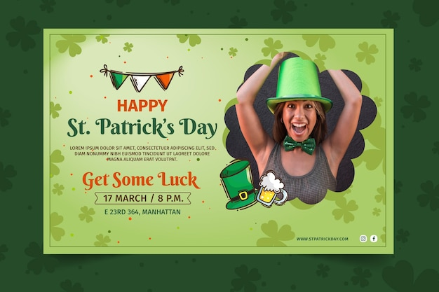 Flat design st. patrick's day banner template