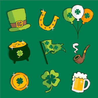 Flat design st. patrick's day element collection