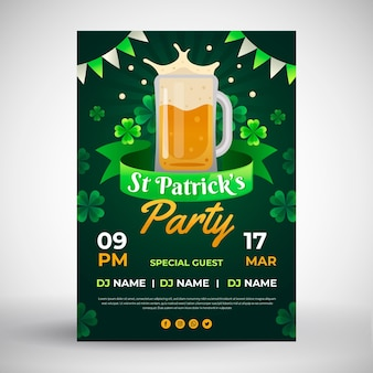 Flat design st. patrick's day flyer template