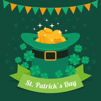 Flat design st. patrick's day hat with coins