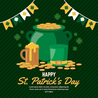 Flat design st. patrick's day illustration with coins