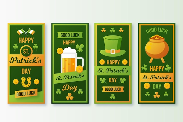 Flat design st. patrick's day instagram stories