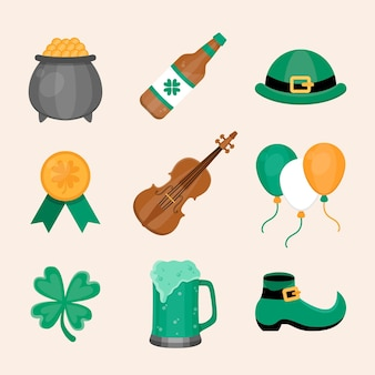 Flat design st. patrick's day items