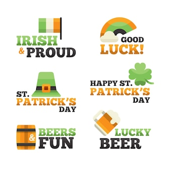 Flat design st. patrick's day label collection