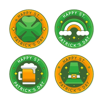 Flat design st. patrick's day label set