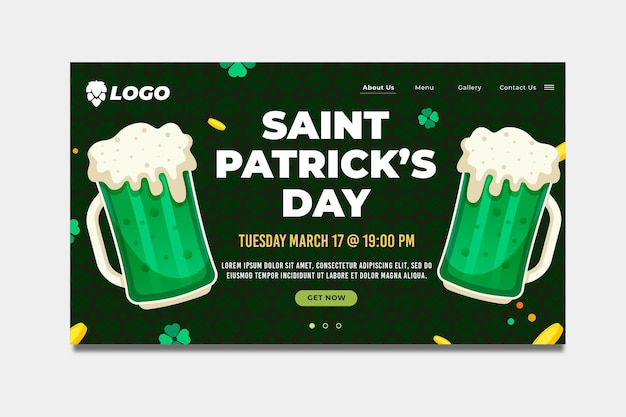 Flat design st. patrick's day landing page