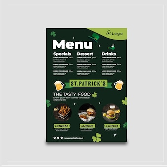Flat design st. patrick's day menu