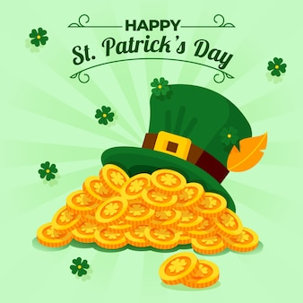 Flat design st. patrick's day pile of coins