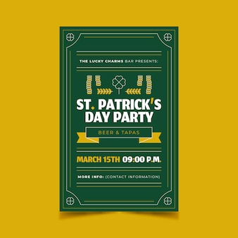 Flat design st. patrick's day poster template