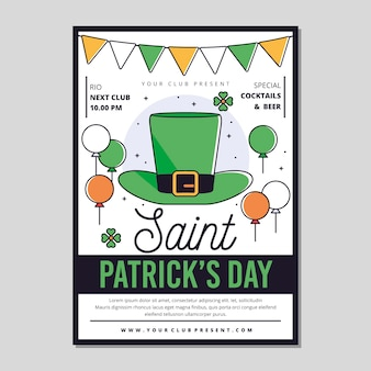 Flat design st. patrick's day poster