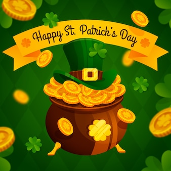 Flat design st. patrick's illustration with golden coins
