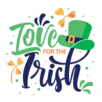Flat design st. patrick's lettering with green hat