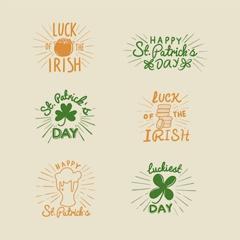 Flat design st patricks day badge collection