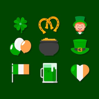 Flat design st. patricks day element collection