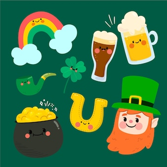 Flat design st patricks day element collection