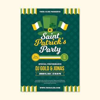 Flat design st. patricks day flyer template concept