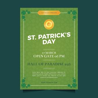 Flat design st. patricks day flyer template concept