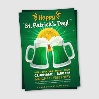 Flat design of st. patricks day flyer template concept