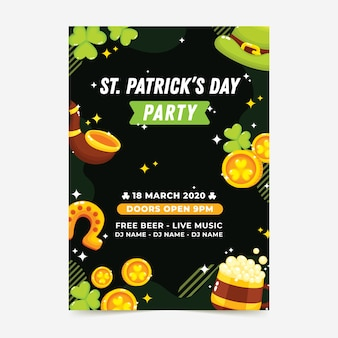 Flat design st. patricks day flyer template theme
