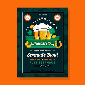 Flat design st. patricks day flyer template